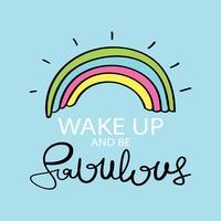 Niedlicher schöner inspirierend motivierend Zitatentwurf mit Regenbogen