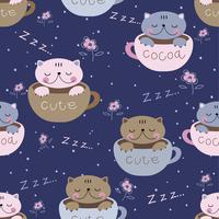 Sömlöst mönster. Söt kattungar sova sött i muggar. Pajama tryck för barn. Vektor.
