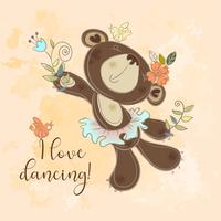 Tanzender Bär in einem Tutu. Netter Charakter der Kinder. Ich liebe es zu tanzen. Vektor.