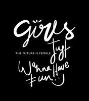 Mädchen möchten gerade inspirierend glücklichen Zitattext des Spaßes haben