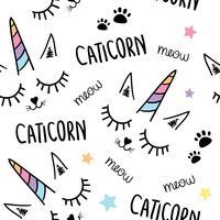 Gullig vacker unicorn katt sömlös repeterande mönster textur bakgrund