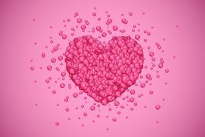 Rotes Herz gemacht durch kleine Blasen, Vektorillustration