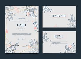 Enkel romantisk blom- firande bröllopskortinbjudan vektor