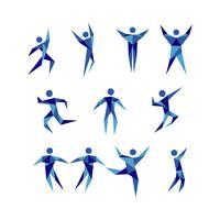 Blå Aktiva Människor Figur Logo Signs Symbol Symbol Set vektor