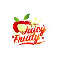 Färska Apple Juicy Fruity Sign Symbol Logo Icon