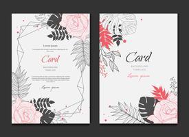 Floral Frame Card Bröllop Inbjudan vektor