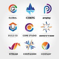 Abstrakter bunter Geschäfts-Logo Set Sign Symbol Icon
