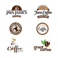 Kaffeestube-Geschäfts-Logo Set Collection vektor