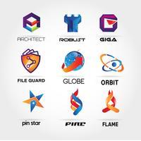 Färgrik logotypsamling Ställ in malltecknesymbolsymbol