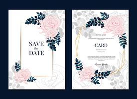 Enkelt elegant rosa bröllop ramar kort och inbjudan vektor