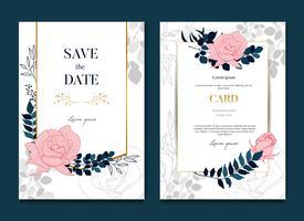 Einfache elegante Rosen-Hochzeits-Rahmen-Karte und Einladung