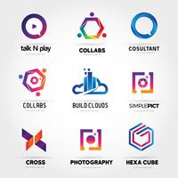 Färgrik logotyp Företagsset Samlingsmall Signsymbol Ikon vektor