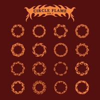 Kreis dekorative Flamme Sammlungssatz vektor
