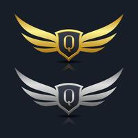Wings Shield Letter Q Logo Vorlage