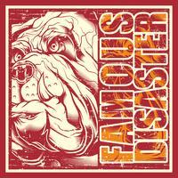 Grunge stil vintage skalle bulldog och text berömd katastrof vektor