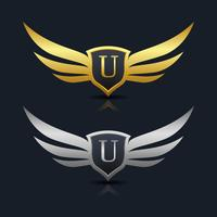 Brev U emblem Logo vektor