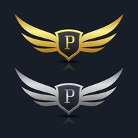 Brev P emblem Logo vektor