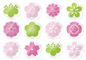 Blumenaufkleber-Vektor-Pack