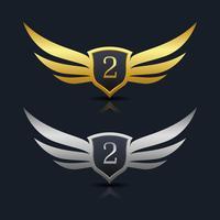 Wings Shield Nummer 2 Logo Vorlage