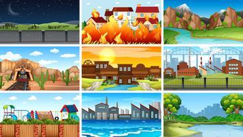 Set av olika landskap vektor