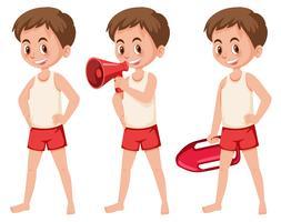 Set von Rettungsschwimmerfiguren vektor