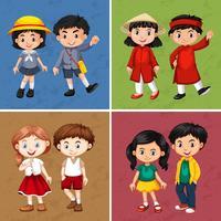 Lyckliga barn från olika länder
