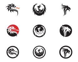 Logo-Schablonen-Vektorillustration des Hauptdrachen flache Farb vektor