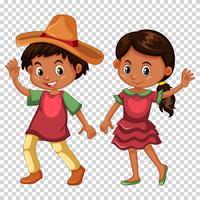 Mexikansk pojke och flicka i kostym