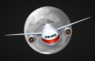 Ein Flugzeug, das um den Globus reist vektor