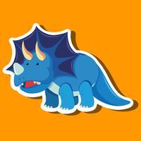 Triceratops auf orange Schablone vektor