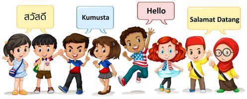 Pojkar och tjejer från olika länder
