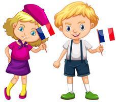 Jungen und Mädchen, die Flagge von Frankreich halten vektor