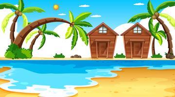 Island scen med bangalows