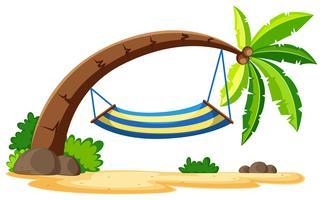 Scen med hängmatta på kokosnötträd vektor
