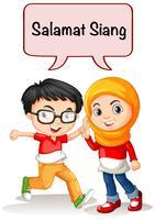 Pojke och tjej hälsning på indonesiska språket