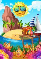 Sommar tema med sol och ö vektor