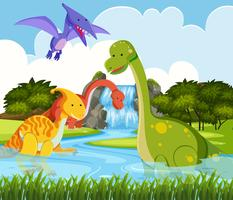Dinosaurier in der Natur vektor
