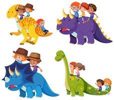 Barn rider dinosaur på vit bakgrund