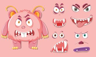 Rosa monsater med olika ansiktsuttryck vektor