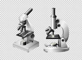 Zwei Mikroskope auf transparentem Hintergrund vektor