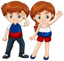 Netter Junge und Mädchen, die Hände wellenartig bewegt vektor