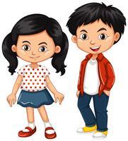 Asiatische Jungen- und Mädchenstellung
