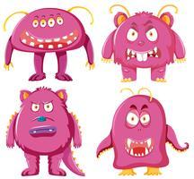 Set med rosa monster karaktär vektor