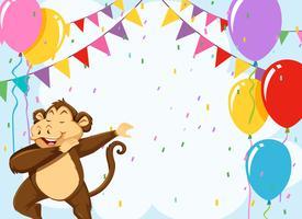 Affe auf Geburtstag Vorlage vektor