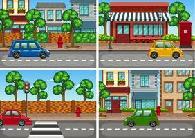City scener med bil på vägen