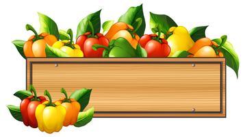 Paprika und Holzbrett vektor