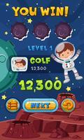 Spelmall med astronaut i rymden