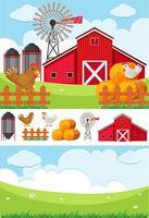 Gårdsplats med fält och kycklingar