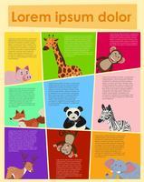 Vilda djur på olika bakgrundsfärger