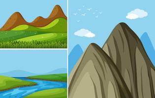 Tre bergsscenarier med flod och fält vektor